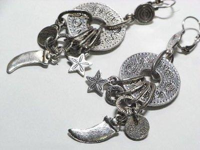 Change Fashion【歐美】英國帶回復古設計牛角海星圓鏤空多墜造型時尚個性耳環-491099-UK137