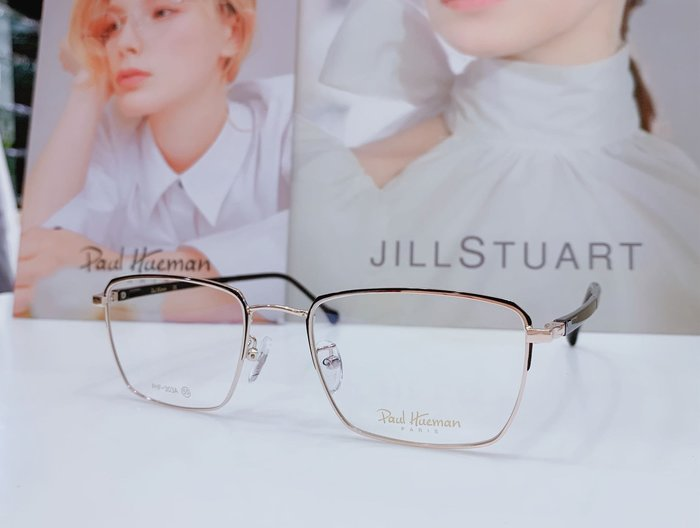 Paul Hueman 韓國熱銷品牌 黑-金雙色方框金屬眼鏡 英倫街頭百搭時尚 PHF303A 303