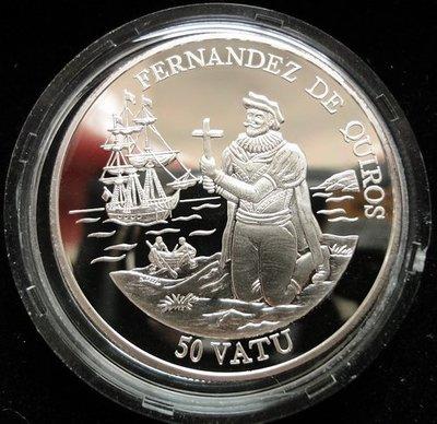 萬那杜(VANUATU) 1992年 50 VATU 精鑄紀念銀幣