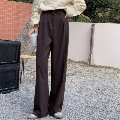 Fabgirls女裝寬松直筒西裝褲女2021新款早春高腰休閒加長拖地褲子垂墜感闊腿褲