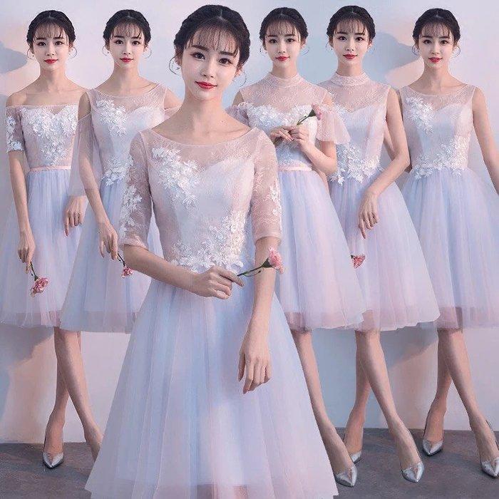 伴娘服2018新款韓版顯瘦姐妹團伴娘晚禮服學生宴會派對小禮服短款--崴崴安