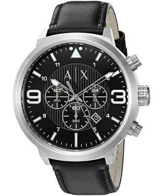 Armani Exchange 男款 AX1371 黑色皮革手錶 台北市