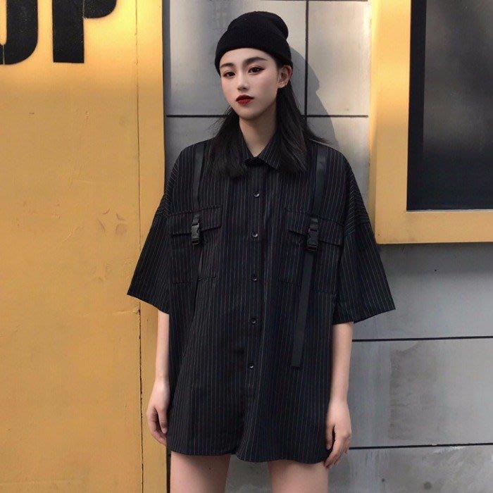 小香風 短袖T恤 時尚穿搭 韓版 復古港味寬松百搭設計感小眾條紋短袖襯衫襯衣女學生上衣