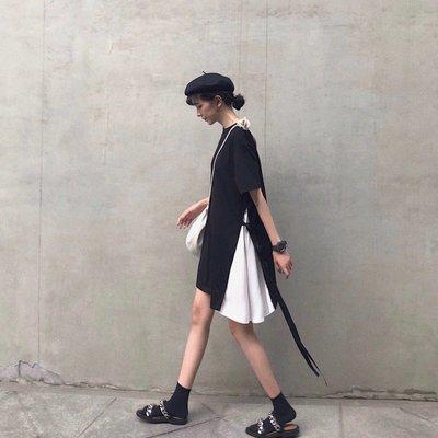 體恤裙子心機設計感學生bf女酷慵懶風夏韓國社會精神裙潮