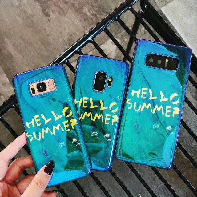 三星 S8 S9 PLUS note8 手機殼 歐美潮牌 復古字母 大理石紋 藍光漸變 軟殼全包  防摔抗震 外殼