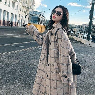 秋冬季格子毛呢外套女裝2020年新款中長款小個子氣質加厚呢子大衣