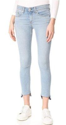 ◎美國代買◎Rag & Bone/JEAN Capri Jeans in wiley 剪破式不包邊褲口淺藍刷色八分牛仔褲