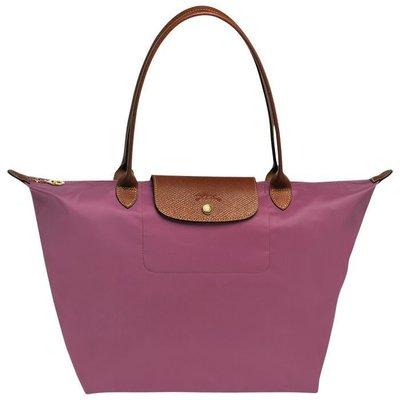 LONGCHAMP 靄紫色 尼龍摺疊購物包 經典款 長柄L號 全新未使用