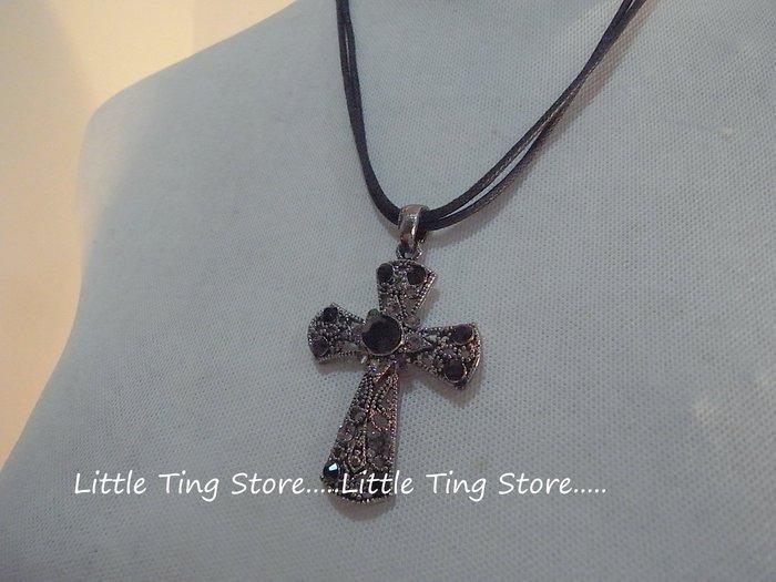 Little Tin Store: 時尚個性黑鑽十字架墜鏈水鑽墜飾皮繩繞頸鍊短項鍊//頸鍊 鎖骨項鍊