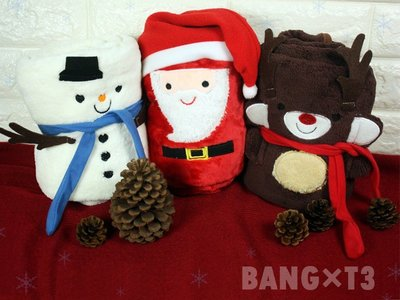 BANG◎聖誕毛毯 小毛毯 雪人毛毯 交換禮物 麋鹿 生日禮物 懶人毯 毯子 披肩 情人節禮物【H16】