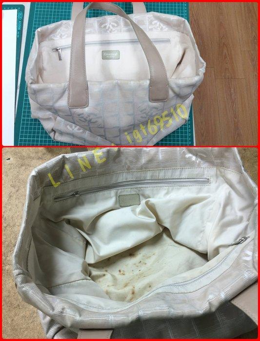 CHANEL 米白色布包 換下層內裡 山茶花 杏色旅行系列購物包 【CH0338】(醫鞋中心)