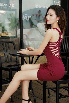 M903 新款性感夜店包臀緊身露背後繫帶連身裙洋裝 2色