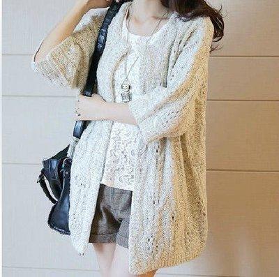 999毛衣外套     糖果色毛衣開衫外套韓國短款燈籠袖繡花針織衫
