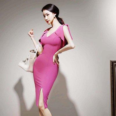 東大門專業代購 正韓國空運 前後V領剪裁雙袖造型荷葉中長禮服洋裝【9AUG-082297202】