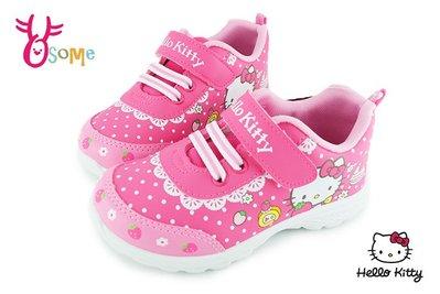 Hello kitty 運動鞋 女童 皮革 防潑水 MIT慢跑鞋 G7990#桃紅 OSOME奧森童鞋