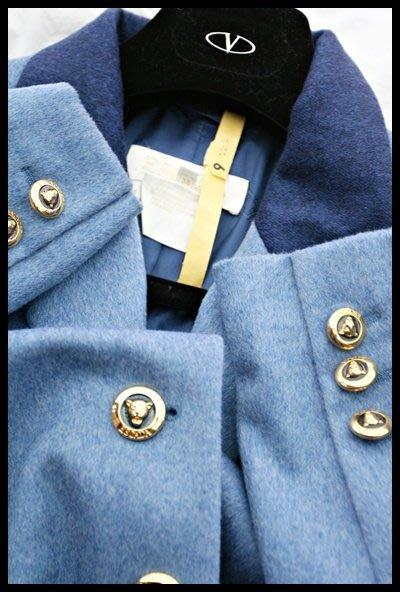 德國【 ESCADA 】天藍深藍領雙色西裝式外套大衣