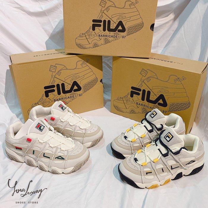 【Luxury】Fila Barricade 97 新款  籃球鞋 滾邊LOGO 米白 黃藍  男女鞋 親子鞋 韓國代購