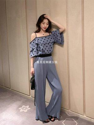 集美屋韓國女裝2019夏裝新款波點吊帶雪紡衫+百褶闊腿褲套裝女名媛氣質兩件套裝