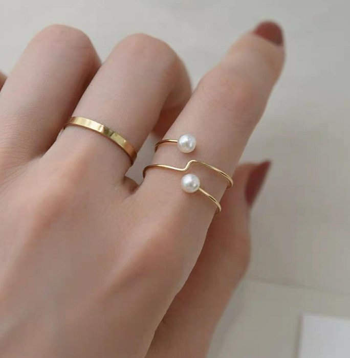 CN 輕珠寶 天然淡水珍珠 美國14K包金 原創設計珍珠戒指  禮盒裝