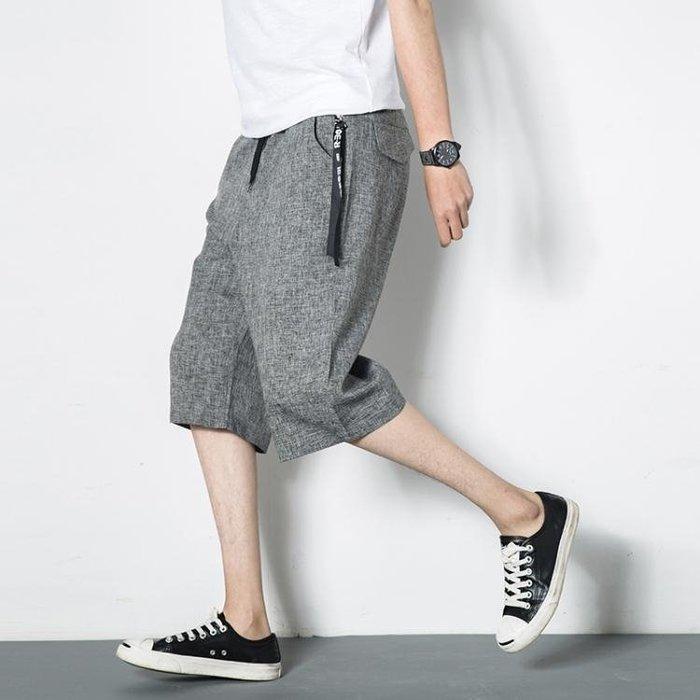 闊腿褲 短褲男夏天仿亞麻七分褲男士寬鬆直筒闊腿褲薄款加大碼7分褲子潮