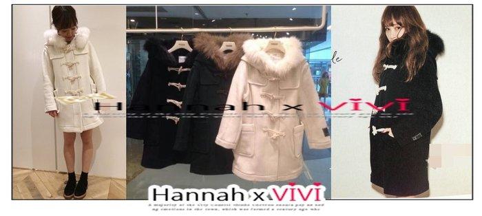 HannahxVIVI 全新 SNIDEL 秋冬最新保暖推薦 甜美百搭經典再升級牛角釦毛呢連帽豐厚毛領修身大衣外套