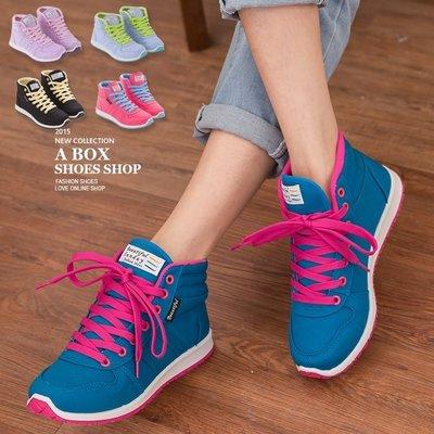 格子舖*【AJ37065】零碼36-40 MIT台灣製 韓版撞色女款休閒綁帶布質高筒球鞋 帆布鞋滑板鞋 5色