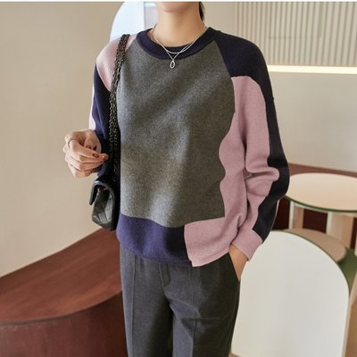 bibi 韓國連線 正韓 羅紋滾邊拚色針織毛衣 【 W1343 】