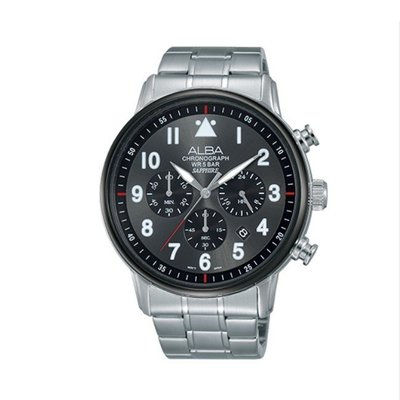 可議價「1958鐘錶城」ALBA雅柏 PRODUCT 男 三眼計時 石英腕錶(AT3A69X1) 44.6mm