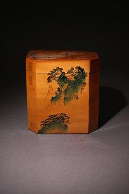悅年堂 --- 竹簧 庭院山居圖 御題詩 茶葉罐