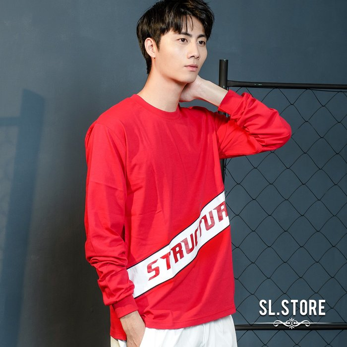 SL Store【DA603】MIT斜拼接開叉大文字長T.白/黑/紅/M/L/XL