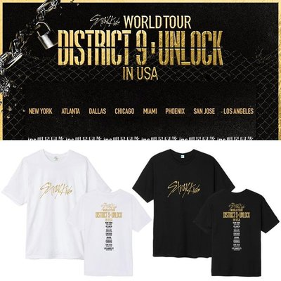 StrayKids世巡演唱會Di新品strict 9 Unl新ock周邊同款短袖T恤打歌服S02