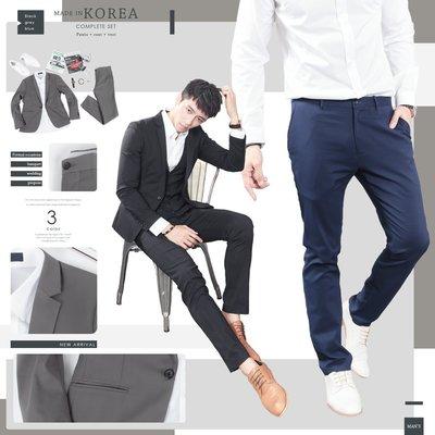 。SW。【K31176】正韓MR 韓國製 修身顯瘦 質感 彈性極佳 平滑西裝布 窄版雅痞 藍灰黑 素面成套西裝 英倫GD