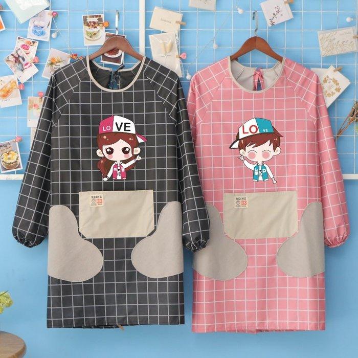 廚房日用 可批發可擦手廚房長袖家用防水防油圍裙做飯罩衣日式時尚女男工作服定制