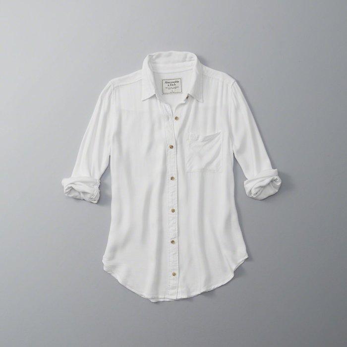 【Abercrombie&Fitch】【A&F】【零碼L】AF女款長袖襯衫袋白鹿咖釦白 F04160830-01
