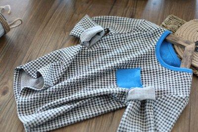 【Mr. Soar】 H432 春秋新款 歐美style童裝男童千鳥格紋長袖T恤 中大童 現貨