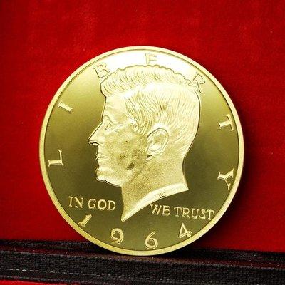 高雄古玩收藏-1964年美國總統肯尼迪紀念章自由硬幣 美國國徽白頭海雕紀念金幣