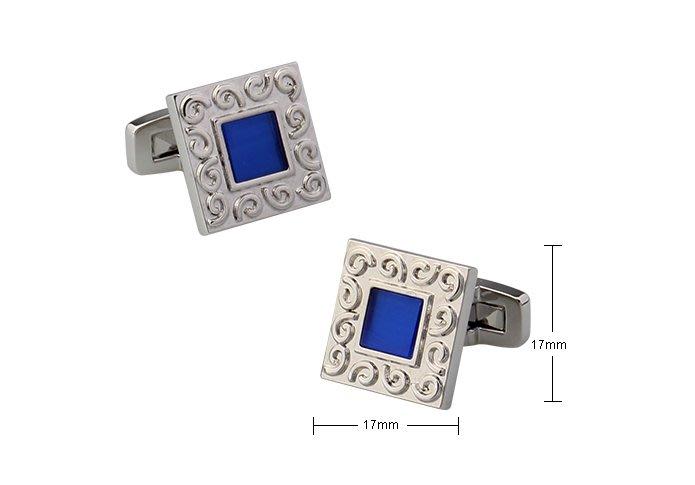 ☆TA精品☆ 男士精品 -方形袖扣-藍色水鑽商務 袖扣 190562