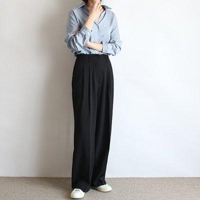 girlmonster 正韓 打褶寬版休閒西裝褲 ( 卡其米色  黑色 ) 【A0449】