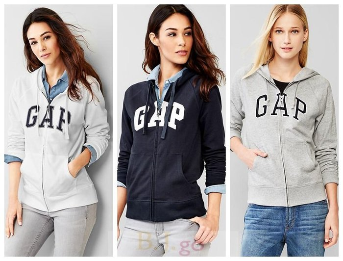 【BJGO】GAP_女裝_Classic logo zip hoodie 美國GAP-Logo連帽外套現貨