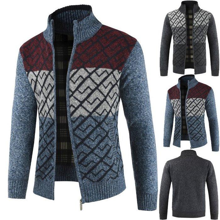 『潮范』  N4 時尚立領韓版學生拼色圖案毛衣 針織外套 夾克 圖案針織衫