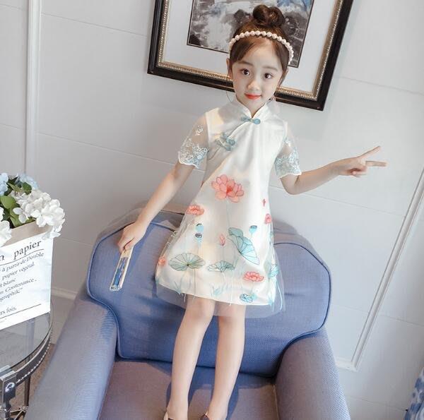 小中大童裝 女童旗袍 夏季唐裝 改良中國風連身裙 童裝公主裙 漢服 洋裝—莎芭