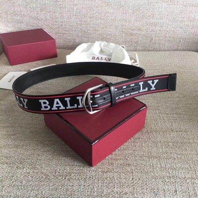【全新正貨私家珍藏】BALLY 巴利 帆布logo牛皮針扣男款腰带