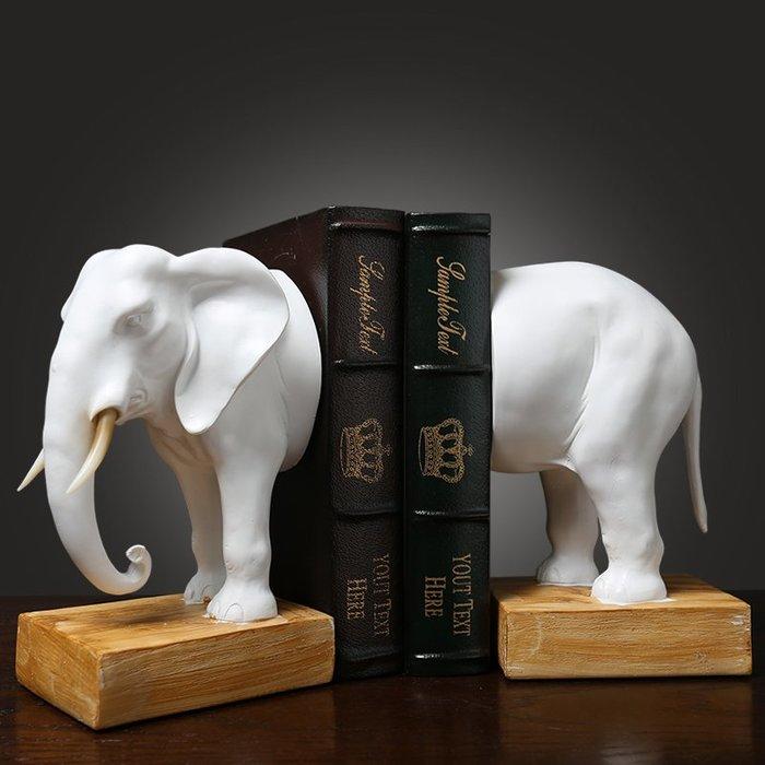 〖洋碼頭〗簡約現代創意書房辦公室裝飾品擺件大號大象書靠書立工藝品書擋 hbs255