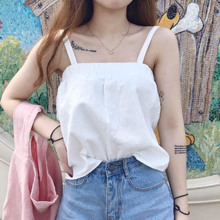 千貨公司新款春裝韓版女裝白色純色顯瘦小清新小背心裙子吊帶兩穿性感#女裝#時尚#韓版#潮流#春裝