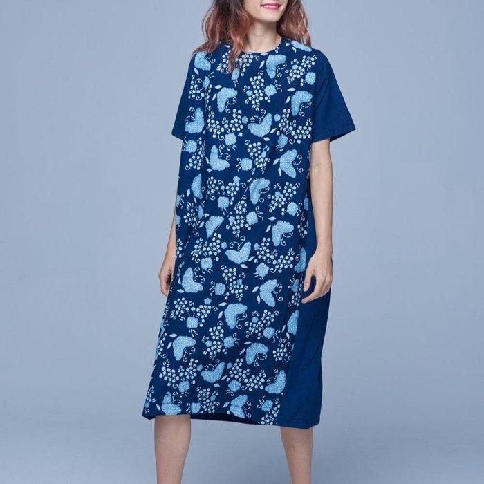!中國藍Anewei藍染三色蝴蝶洋裝-F-另有三色玫瑰