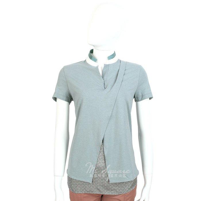 米蘭廣場 FABIANA FILIPPI 灰綠色拼接設計短袖上衣 1420113-08