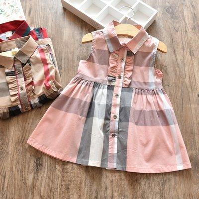 艾町Eyeing Shop  韓版新品女童經典時尚格紋貴族公主襯衫連身裙
