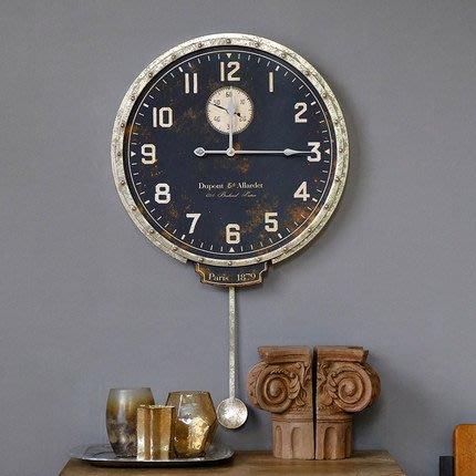 美線空間美式複古工業風店鋪酒吧牆面裝飾時鐘做舊鐵藝圓鐘壁掛掛鐘牆鐘