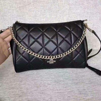恬恬精品 COACH 36682 新款小牛皮菱格紋+鏈條女包 手提包/斜背包 側背包