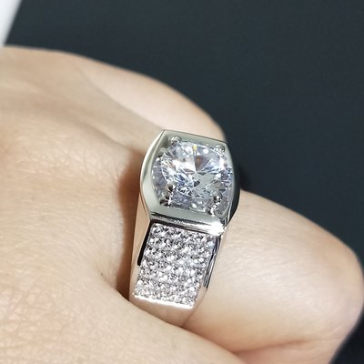 鑽戒滿鑽鑽微鑲鑽戒925純銀鍍鉑金指環...